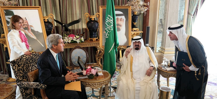 Secretary of State John Kerry meets with then- Saudi King Abdullah bin Abdulaziz al-Saud, on June 27, 2014.