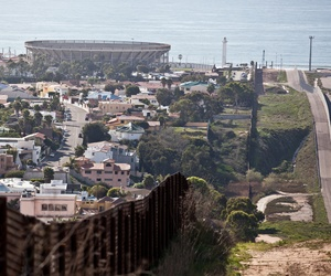 The U.S.-Mexico border, with Tijuana on the left, and the U.S. on the right.