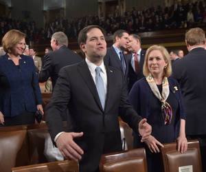Senator Marco Rubio waits for the start of the State of the Union address on Jan. 20, 2015.