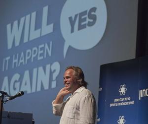 Eugene Kaspersky, the chairman of Kaspersky Lab, speaks at the International Conference on Cybersecurity in Tel Aviv, on June 6, 2012.