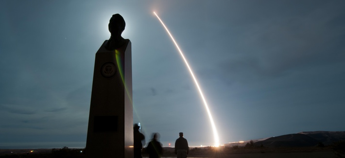 An unarmed U.S. Air Force LGM-30G Minuteman III intercontinental ballistic missile launches during an operational test at Vandenberg Air Force Base, Calif., Dec. 17, 2013.