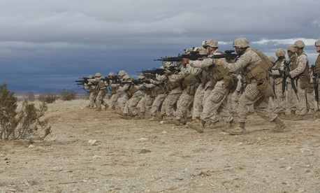 Marines with Combat Logistics Detachment 1, practice combat gliding during an exercise at Camp Wilson, on Jan. 31, 2015.