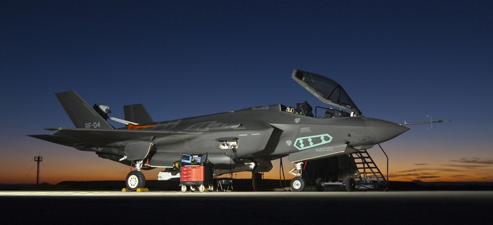 This F-35A Lightning II fighter aircraft, AF-4, is outfitted with a spin recovery chute during high angle of attack testing accomplished by the F-35 Integrated Test Force team at Edwards Air Force Base, Calif.