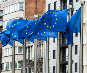 European flags wave at the European Commission headquarters in Brussels, on October 12, 2012.