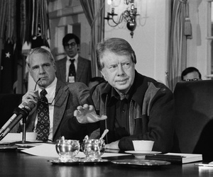 President Jimmy Carter discusses issues during a special meeting of his Cabinet, on Jan. 29, 1977.