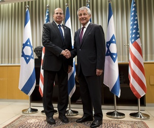 Secretary of Defense Chuck Hagel poses for a photo with Israeli Minister of Defense Moshe Ya'alon in Tel Aviv, Israel, on May 15, 2014.