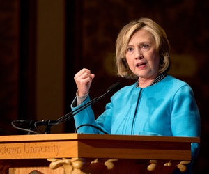 Former Secretary of State Hillary Rodham Clinton speaks in Gaston Hall at Georgetown University in Washington, Dec. 3, 2014.