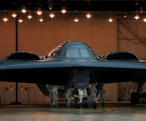 U.S. Air Force crew chiefs and other maintainers from the 509th Aircraft Maintenance Squadron prepare U.S. Air Force B-2 Spirit stealth bombers at Whiteman Air Force Base. Mo., March 19, 2011.