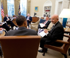 President Barack Obama meets with Director of National Intelligence James Clapper, right, in the Oval Office, Sept. 9, 2010.