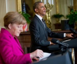 President Barack Obama, right, and German Chancellor Angela Merkel, left, during their joint news conference in the East Room of the White House in Washington, Feb. 9, 2015.