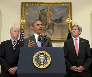 President Barack Obama, with Vice President Joe Biden, left, Secretary of State John Kerry, and Secretary of Defense Chuck Hagel, speaks about the Islamic State group in the Roosevelt Room of the White House.