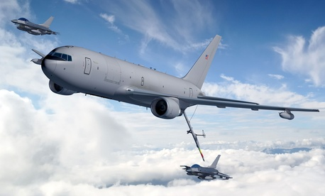 An artist's rendering of a KC-46A refueling an F-16.