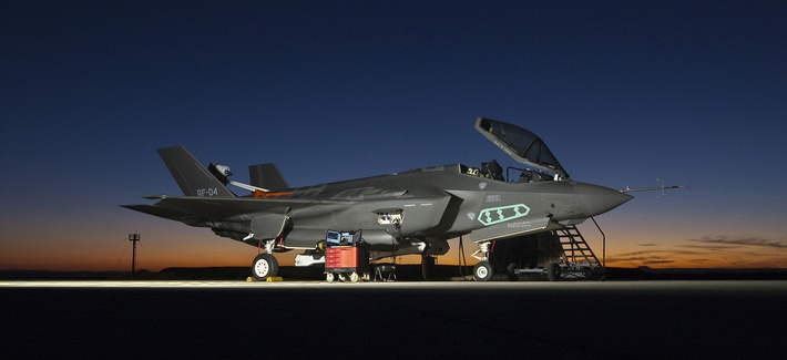 An F-35A is outfitted with a spin recovery chute at Edwards Air Force Base, Calif., during testing.