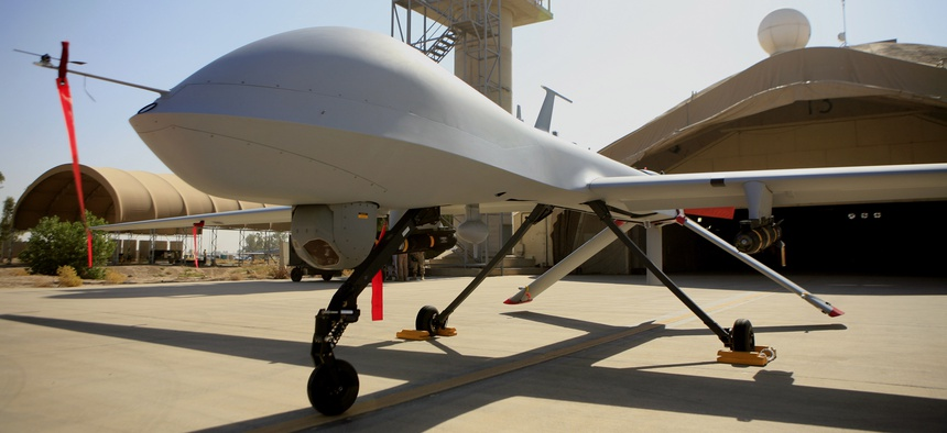 June 21, 2007, a MQ-4 Predator controlled by the 46th Expeditionary Reconnaissance Squadron stands on the tarmac at Balad Air Base, north of Baghdad, Iraq.