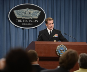 Rear Adm. John Kirby briefs the press at the Pentagon, on Sept. 19, 2014.