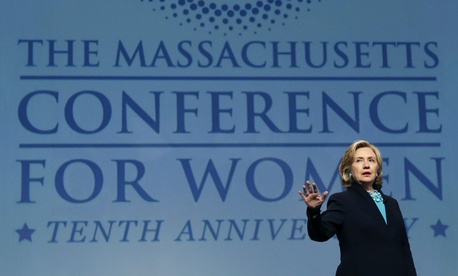 Former Secretary of State Hillary Clinton speaks at the Massachusetts Conference for Woman, on December 4, 2014.