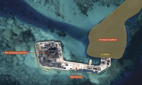 Airbus Defence and Space imagery shows the result of Chinese land reclamation at Hughes Reef in the South China Sea's Union Banks.