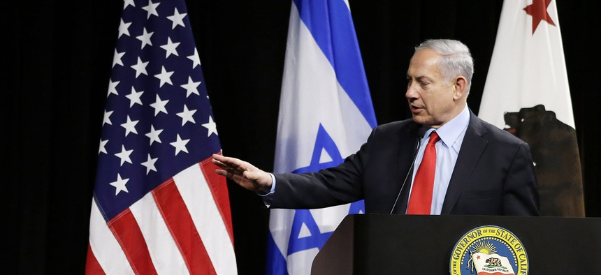Israeli Prime Minister Benjamin Netanyahu, right, speaks at the Computer History Museum in Mountain View, Calif. on March 5, 2014.