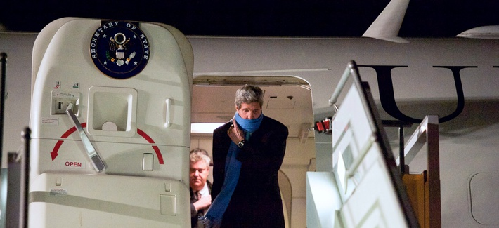 Secretary of State John Kerry deplanes in Geneva, Switzerland, before speaking at the U.N. Human Rights council and further negotiations with Iranian officials over the future of their nuclear program.
