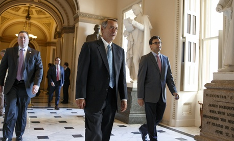 House Speaker John Boehner of Ohio leaves the House chamber on Capitol Hill in Washington, Friday, Feb. 27, 2015.