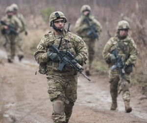 U.S. Army soldiers during a military training exercise in Estonia.