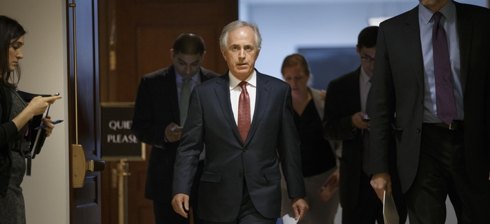 Senate Foreign Relations Committee Chairman Sen. Bob Corker, R-Tenn. leaves a closed-door security briefing on nuclear negotiations with Iran, Tuesday, Feb. 10, 2015.