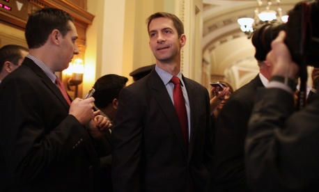 Sen-elect Tom Cotton, R-Ark. makes his way through reporters on Capitol Hill in Washington, Wednesday, Nov. 12, 2014.
