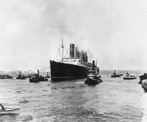 The British cargo and passenger ship Lusitania as it sets out for England on its last voyage from New York City, on May 1, 1915.