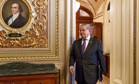 Senate Foreign Relations Chairman Sen. Robert Menendez, D-N.J., leaves the Senate chamber on Capitol Hill in Washington on March 5, 2104.