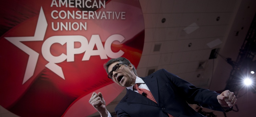 Former Texas Gov. Rick Perry speaks during the Conservative Political Action Conference (CPAC) in National Harbor, Md., Friday, Feb. 27, 2015.