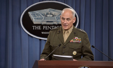 U.S. SOUTHCOM commander Gen. John F. Kelly briefs reporters at the Pentagon, on March 13, 2014.