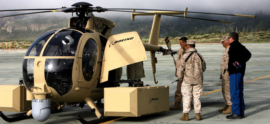 Seen here, a version of the Unmanned Little Bird helicopter.