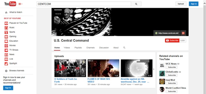 Seen here, is the screenshot of the hacked Youtube page of U.S. Central Command, on Jan. 12, 2015.