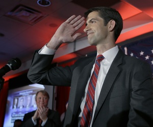 Rep. Tom Cotton, R-Ark. salutes his supporters at his election watch party in North Little Rock, Ark., Tuesday, Nov. 4, 2014. Cotton defeated incumbent Sen., Mark Pryor.