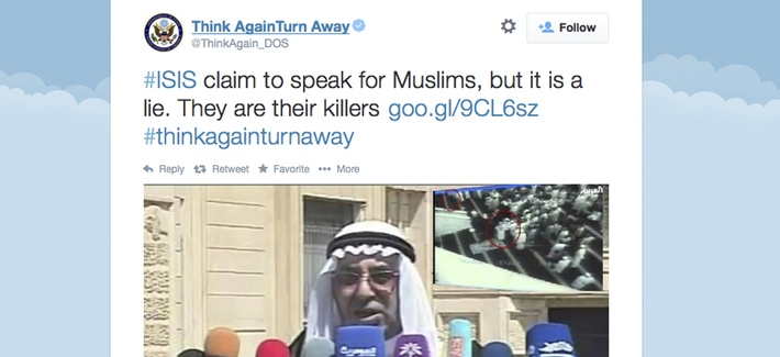"""This screen grab from the State Department's """"Think Again Turn Away"""" page was taken on Sept. 20, 2014."""