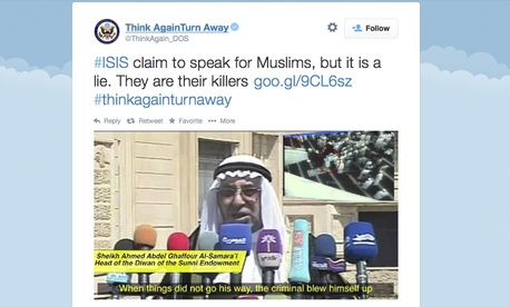 "This screen grab from the State Department's ""Think Again Turn Away"" page was taken on Sept. 20, 2014."