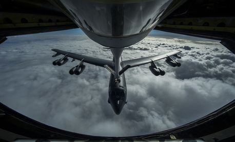A B-52 Stratofortress is refueled in-flight April 2, 2014 over the Pacific Ocean near Joint Base Pearl Harbor-Hickam, Hawaii.