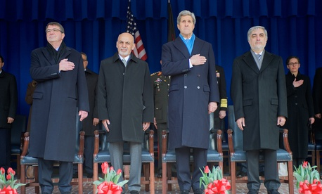 From left to right: Secretary of Defense Ash Carter, Afghan President Ashraf Ghani, Secretary of State John Kerry and Afghan Chief Executive Officer Abdullah Abdullah stand during an honor cordon at the Pentagon, on March 23, 2015.