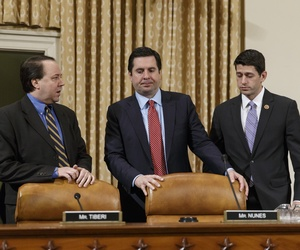 Reps. Pat Tiberi, Devin Nunes, and Paul Ryan gather before a hearing of the House Ways and Means Committee, on April 9, 2014.
