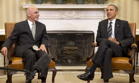 President Barack Obama meets with Afghanistan's President Ashraf Ghani in the Oval Office, on March 24, 2015.