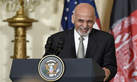 Afghanistan's president Ashraf Ghani speaks during a joint news conference with President Obama, on March 24, 2015.