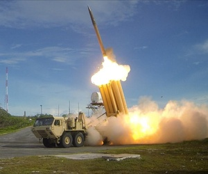 The first of two THAAD interceptors is launched by the Missile Defense Agency.