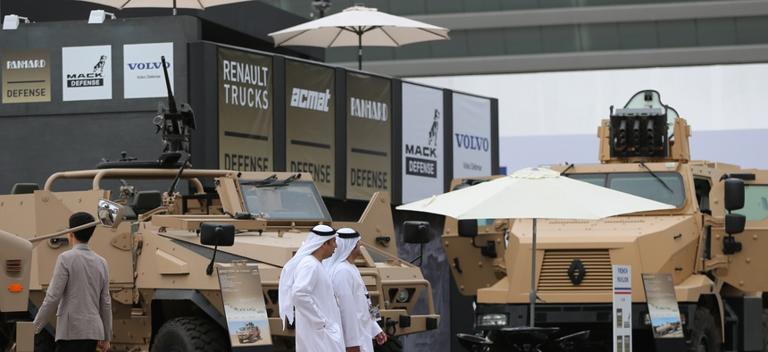 mirati officials visit the International Defence Exhibition and Conference, IDEX, in Abu Dhabi, United Arab Emirates, Sunday, Feb. 22, 2015.