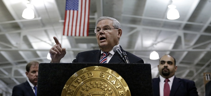 U.S. Sen. Robert Menendez, D-NJ, answers a question as he addresses a gathering Monday, March 23, 2015.
