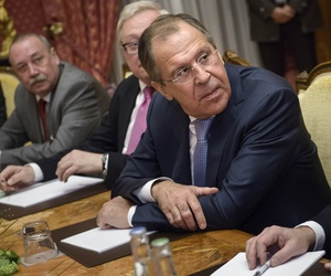 Russian Foreign Minister Sergei Lavrov awaits the start of a negotiating session at au Rivage Palace Hotelin Lausanne, Switzerland, on March 29, 2015.