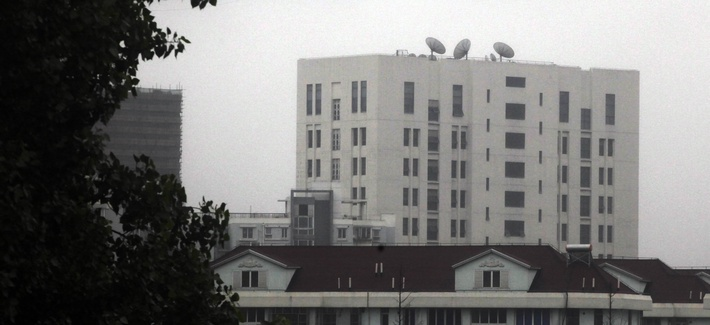 Seen here is the outside of the building housing the PLA's Unit 61398, the military organization that has been accused of cyberspying.
