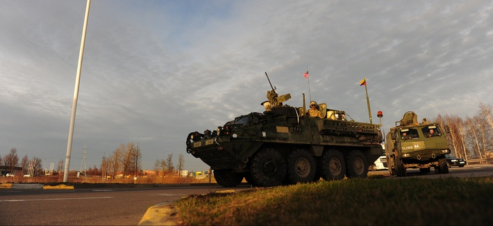 "U.S. Army Europe vehicles participate in the ""Dragoon Ride,"" a road march that was meant to showcase the service's capabilities with European allies."