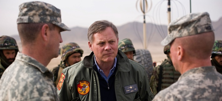 Sen. Richard Burr, R-N.C., speaks with two NATO Training Mission - Afghanistan advisers during a visit to the Kabul Military Training Center, Jan. 16, 2011, in Kabul, Afghanistan.
