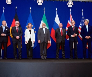 Secretary Kerry Poses for a photo with the foreign ministers of the P5+1 and Iran after the conclusion of a framework agreement, on April 2, 2015.
