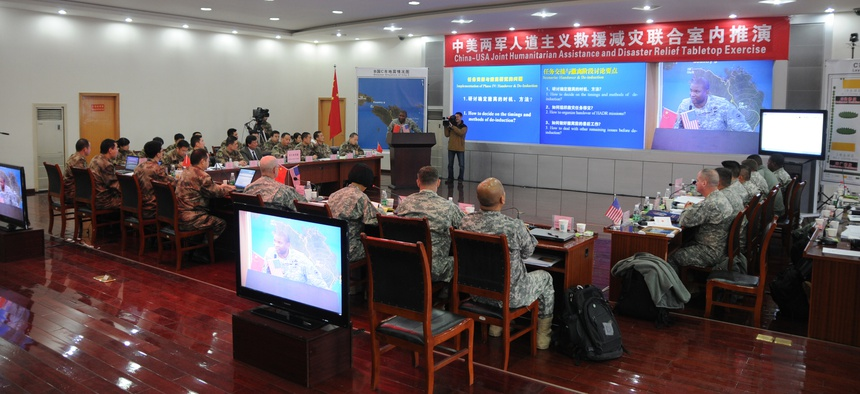 The U.S. Army Pacific and People's Liberation Army participate in a Joint Humanitarian and Disaster Relief Tabletop Exercise.